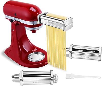 Geesta Prime Accesorio para pasta compatible con mezcladores de ayuda de cocina, hojas de rodillo y cortador – Agua disponible y rodillo de hoja de acero inoxidable, cortadores de espaguetis y fettuccine – 8 ajustes de espesor