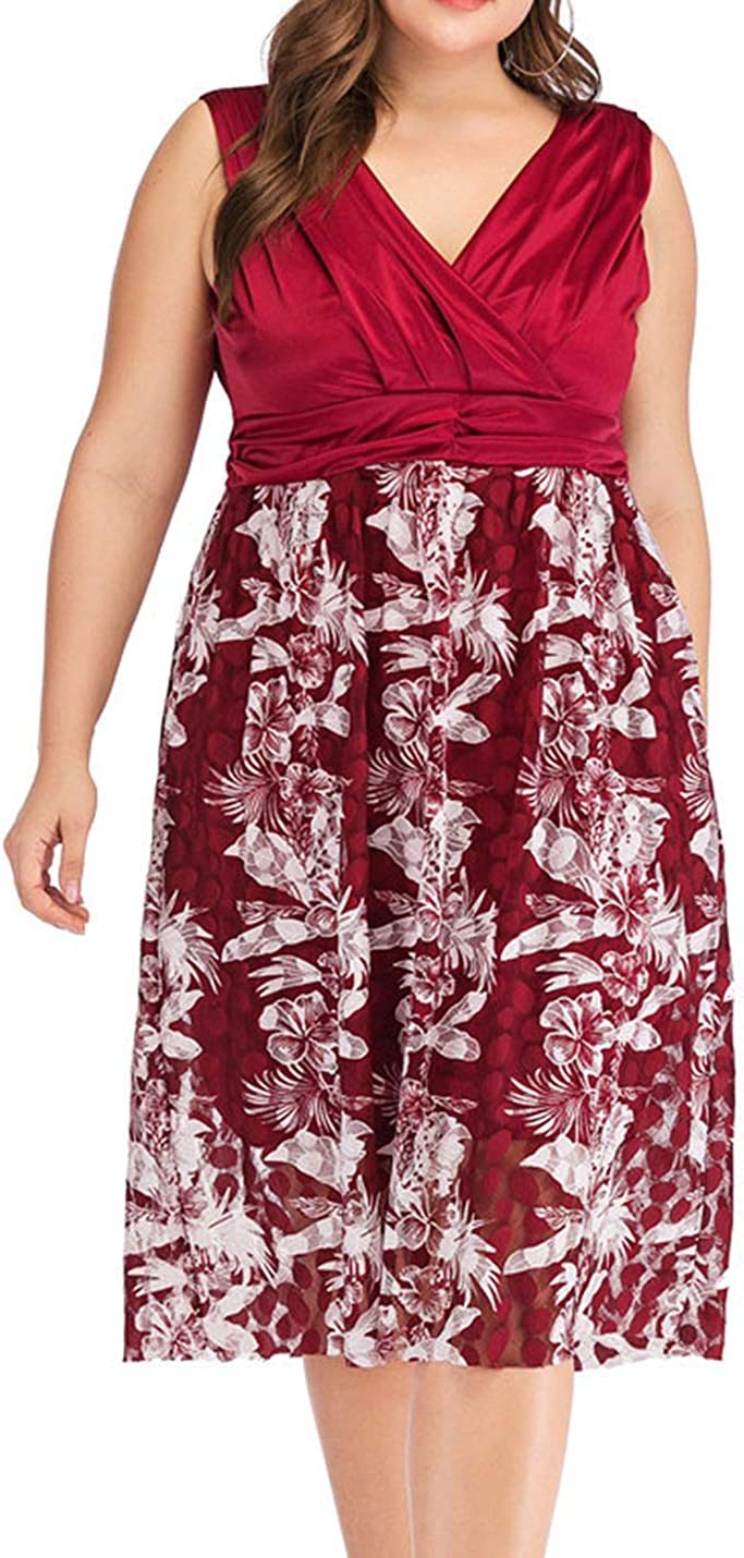 Uaneo Women's Vintage Slim Floral V Neck Lace Pleated Sleeveless Midi Swing Dress(Red-M)