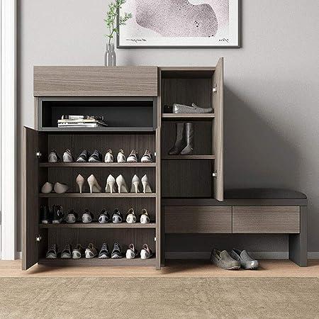 Shoe rack Meuble Chaussure, Armoire de Rangement avec 3 tiroirs et Chaise étagère à Chaussures Moderne pour Le Stockage de Chaussures à la Maison Marron