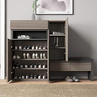 Shoe rack Meuble Chaussure, Armoire de Rangement avec 3 tiroirs et Chaise étagère à Chaussures Moderne pour Le Stockage de...