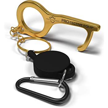 Loop Hook Hand Stick Non-Contact Keep Hands Clean Multi-Purpose Protection No Touch Brass Door Opener /& Stylus Keychain Tool Jinxuny Handheld Door Opener
