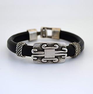 Bracciale vichingo in pelle nera su misura per gli uomini, gioielli celtici per lui