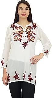 Phagun Women's Indian Ethnic Casual Tunic with Aari Work Short Top