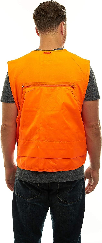 Orange Safety Front Loader Vest W/ Pockets High Visibility- Deer Hunting Construction Engineers