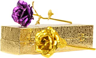 MSA Jewels Valentine Gift Purple Gold Rose 25 cm with Beautiful Gold Velvet Box