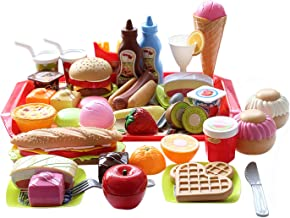 Catchstar Fast Food Toy Set Variety Fast Food Pretend Playset Durable Plastic Pretend Mcdonalds Play Food Fast Food Hamburger Fries Snack Picnic Toys Foods Gift For Kids Toddler Childrens Play Kitchen