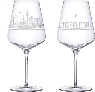 3forCologne 3forCologne Weinglas Düsseldorf Sehenswürdigkeiten Gravur, Souvenir Weingläser 2er Set für Rotwein und Weißwein, Kristallglas