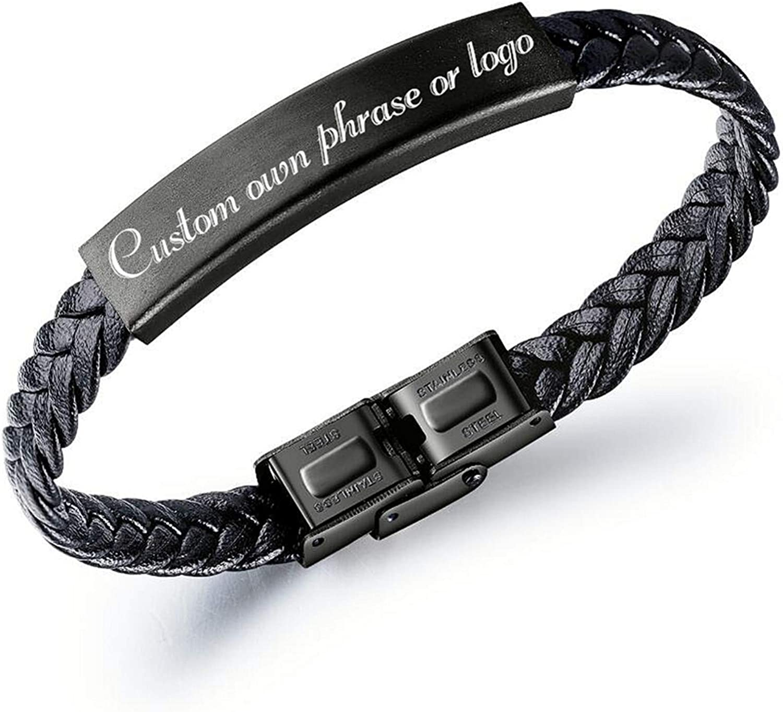 Kooer Classic Personalized Leather Braided Rope Bracelet Custom Engraved Bangle Unisex Gift