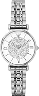 ساعة كاجوال من امبوريو ارماني للنساء - سوار ستانلس ستيل، انالوج بعقارب، AR1925