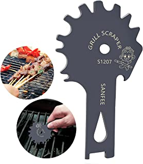 Stainless Steel Grill Brushes Scraper BBQ Barbecue Brushes Effective Cleaning for BBQ Grate Grills Griddle Cleaner Include S-Hook - Safer Than a Wire Brush - Stocking Stuffer Ideas, Deep Gray