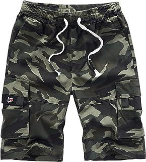 MakingDa Mens Cotton Lounge Cargo Shorts Summer Casual Sports Combat Work Loose Fit Shorts Multi Pockets