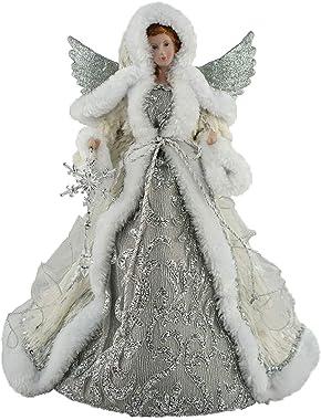 "Santa's Workshop 16"" Silver Snowfall Tree Topper Angel"