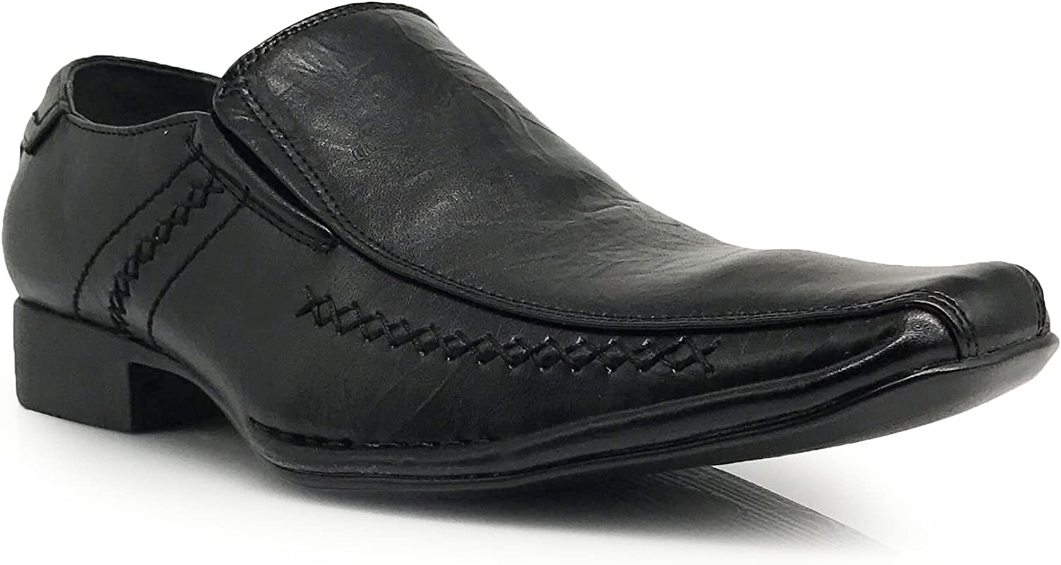 Enzo Romeo Sun02 Men's Dress Loafers Elastic Slip on Eagle Designer Fashion Dress shoes Black