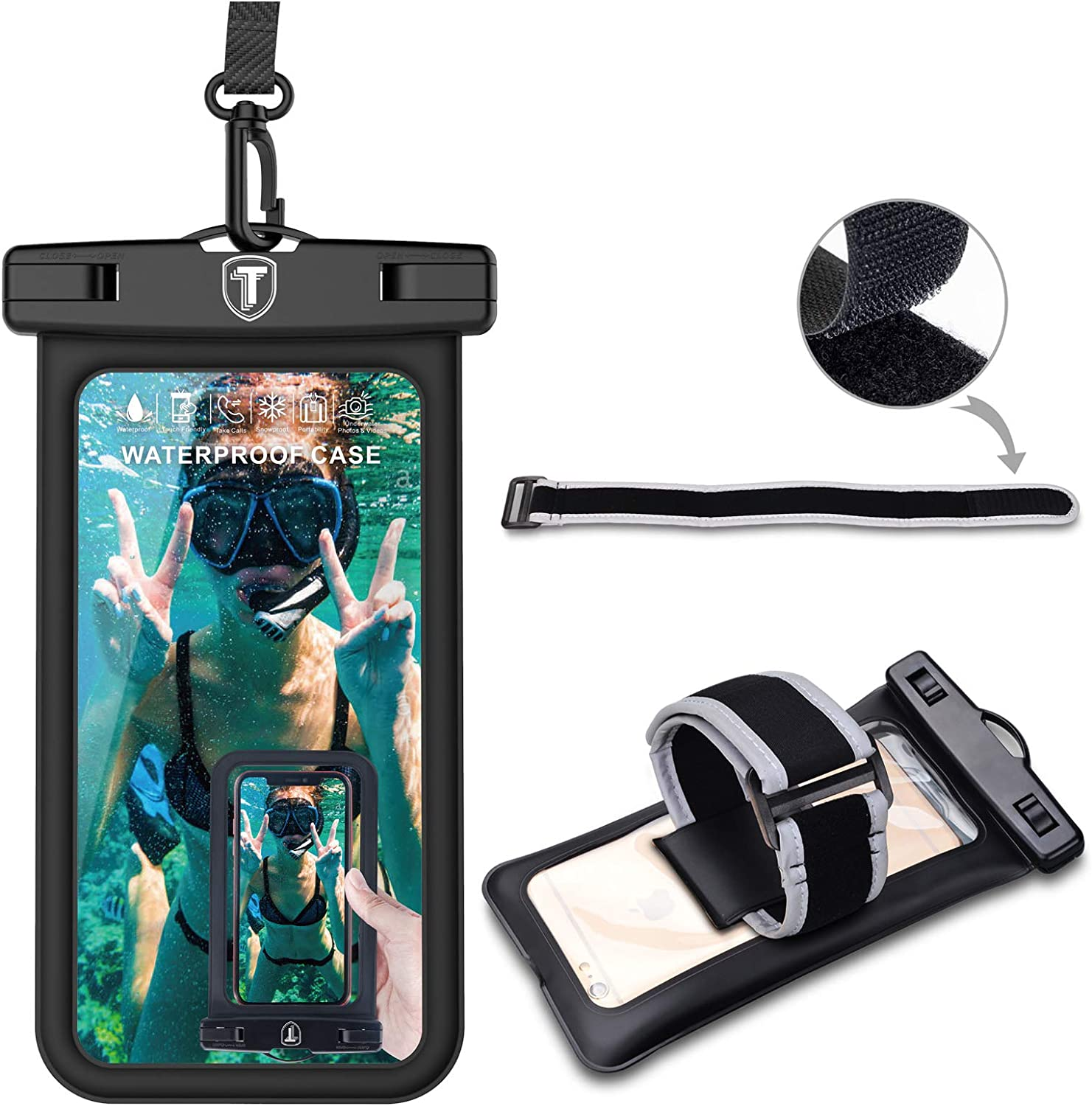 Njjex Waterproof Phone Pouch Floating Case Cellphone Dry Bag ArmBand/Lanyard For Samsung Galaxy Note 20 Ultra S21 S20 S10 S10e S9 A02S A12 A32 A42 A52 A72 A01 A11 A21 A51 A71 5G LG Stylo 7 6 5 K51 K31