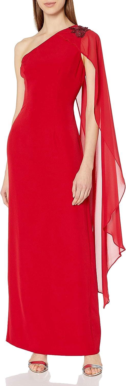 Adrianna Papell Women's Asymmetrical Flutter Sleeve Dress with Beaded Detail