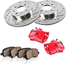 CCK11788 FRONT Powder Coated Red [2] Calipers + [2] Rotors + Quiet Low Dust [4] Ceramic Pads Performance Kit