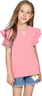 Greatchy Girls Shirts Short Sleeve Tee Ruffle Solid Summer Keyhole Neck Cotton Blouse Tops