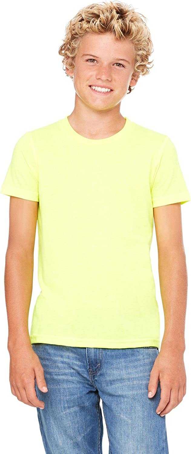 Bella Canvas Youth Jersey Short-Sleeve T-Shirt - NEON Yellow - L - (Style # 3001Y - Original Label)