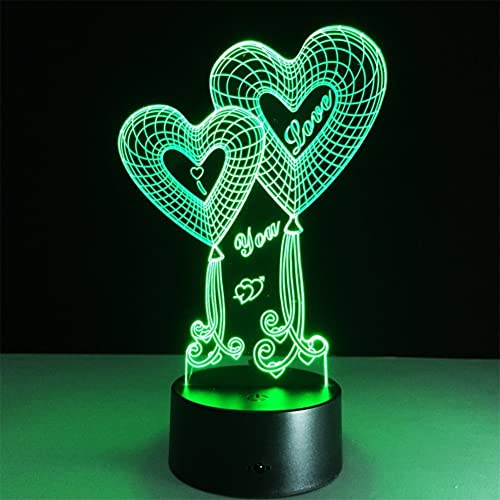 ATD Double Heart Balloon I LOVE YOU 3D Optical Illusion Touch Botton 7 Color Changing LED