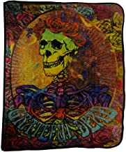 Earth Ragz Polyester Throw Blankets Grateful Dead Bertha Skull and Roses Plush Throw Blanket 60 X 50 X 0.5 Inches Multicolored