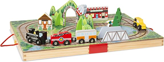 Melissa & Doug Take-Along Railroad (Portable Tabletop Set, 3 Train Cars, 17 Pieces), Great Gift for Girls and Boys - Best for 3, 4, and 5 Year Olds