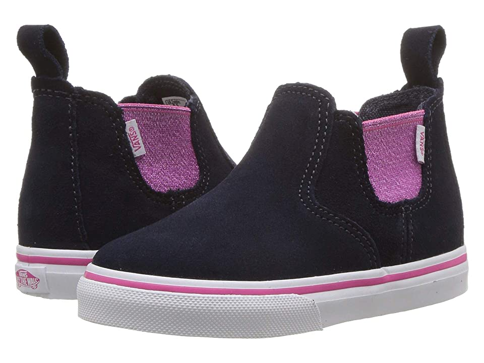 Vans Kids Classic Slip-On Mid (Infant/Toddler) ((Shiny Gore) Parisian Night/Magenta) Girls Shoes