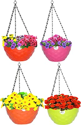 FLOROBASKET Plastic Diamond Hanging Pot (7.5 inches) with Chain Multicolor, Plastic Pots for Indoor, Outdoor, Balcony and Railing Pot, Diamond Flower Pot (4)
