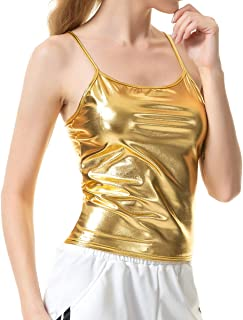 7aad325261 Mocure Women s Shiny Metallic Camisole Liquid Wet Look Crop Top Tank Tops  for Party Rave