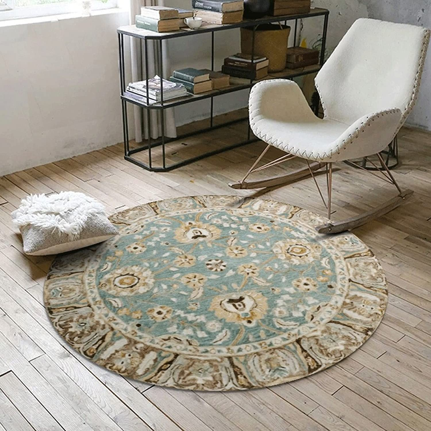 Pattern Round Carpet Bedroom Room Round Carpet Home Computer Chair Floor Mat (Size   80cm(31inch))