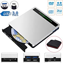 External CD DVD Drive NOLYTH 5 in 1 USB CD DVD Drive Player Reader Burner Optical Drive for Laptop/MacBook/Windows/PC with SD TF Card Reader/2 USB3.0 Hub/DVD±RW/DVD±R/CD-R