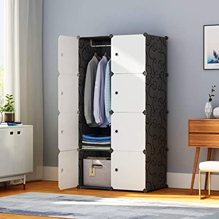 Closet Organizers and Storage Shelves Cabinet Armoire for Bedroom, HOMIDEC Portable Closet Wardrobe with Clothes Hanging Rod 42x18x56, 12 Cube