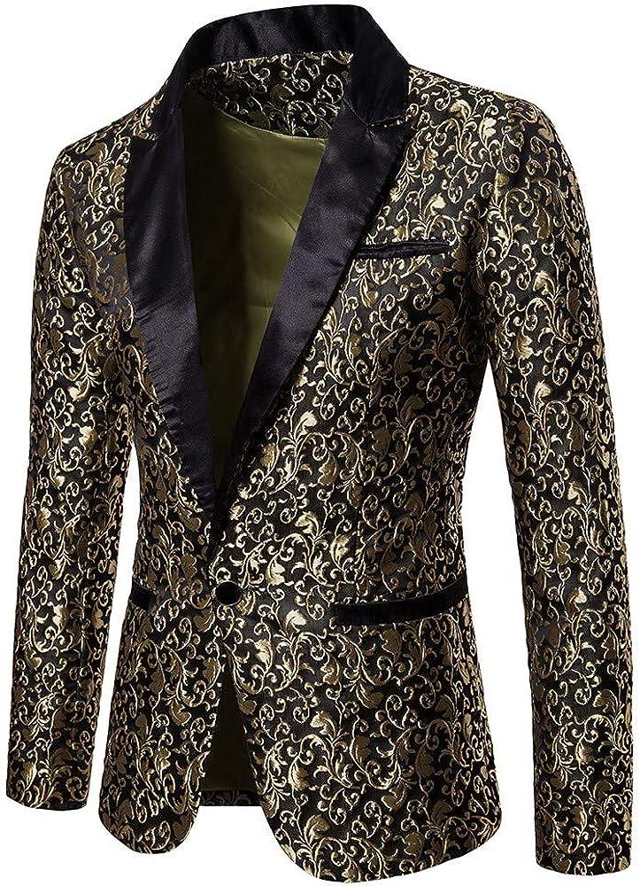 Muranba Men's Casual Suit One Button Sequin Jacquard Party Blazer Coat