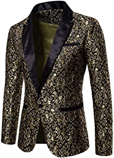 Blazer Jacket for Men's Floral Print One Button Fit Suit Coat Jacket Top Tuxedo Party,Wedding,Banquet,Prom