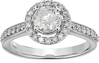 14k 白金钻石光环戒指