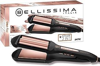 Imetec Bellissima My Pro 2 en 1 Straight&Waves B29 100 - Plancha de pelo Formato XL, liso y ondulado Beach Waves, revestimiento en cerámica, 4 niveles de temperatura de 150°C hasta 210°C, negro/oro