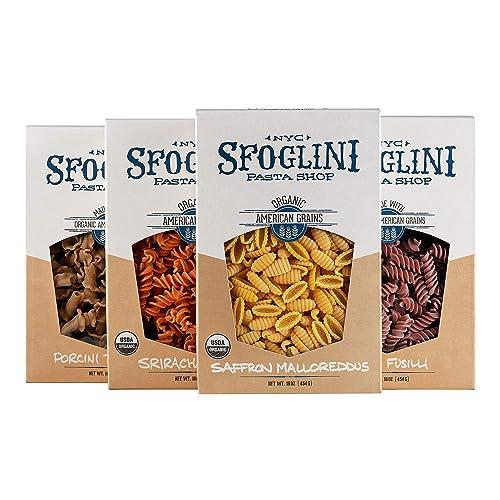 Sfoglini Flavored Pasta Variety Pack, Beet Fusilli, Saffron Malloreddus, Porcini Trumpets, Sriracha Fusilli, 4 Count, 16 Ounce