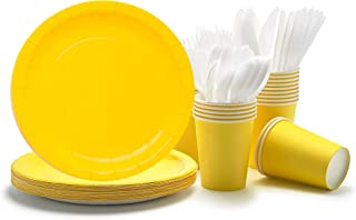 Party Paper Plates, Cups, Flatware, 120-Piece Disposable Dinnerware Set, Yellow, Includes 9-Inch Dinner Plates, 9oz Cups, ...