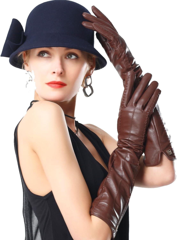 NappaNovum Women's Nappa Leather Gloves Lambskin Long Gloves Winter Warm Gloves