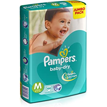 Pampers Baby Dry Diapers, Medium, 66 Count