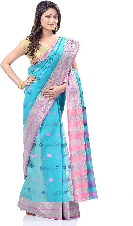 Indian dB DESH BIDESH Women`s Bengal Tant Pure Handloom Cotton Saree Potrobinnas Design Without Blouse Piece (Blue) Saree