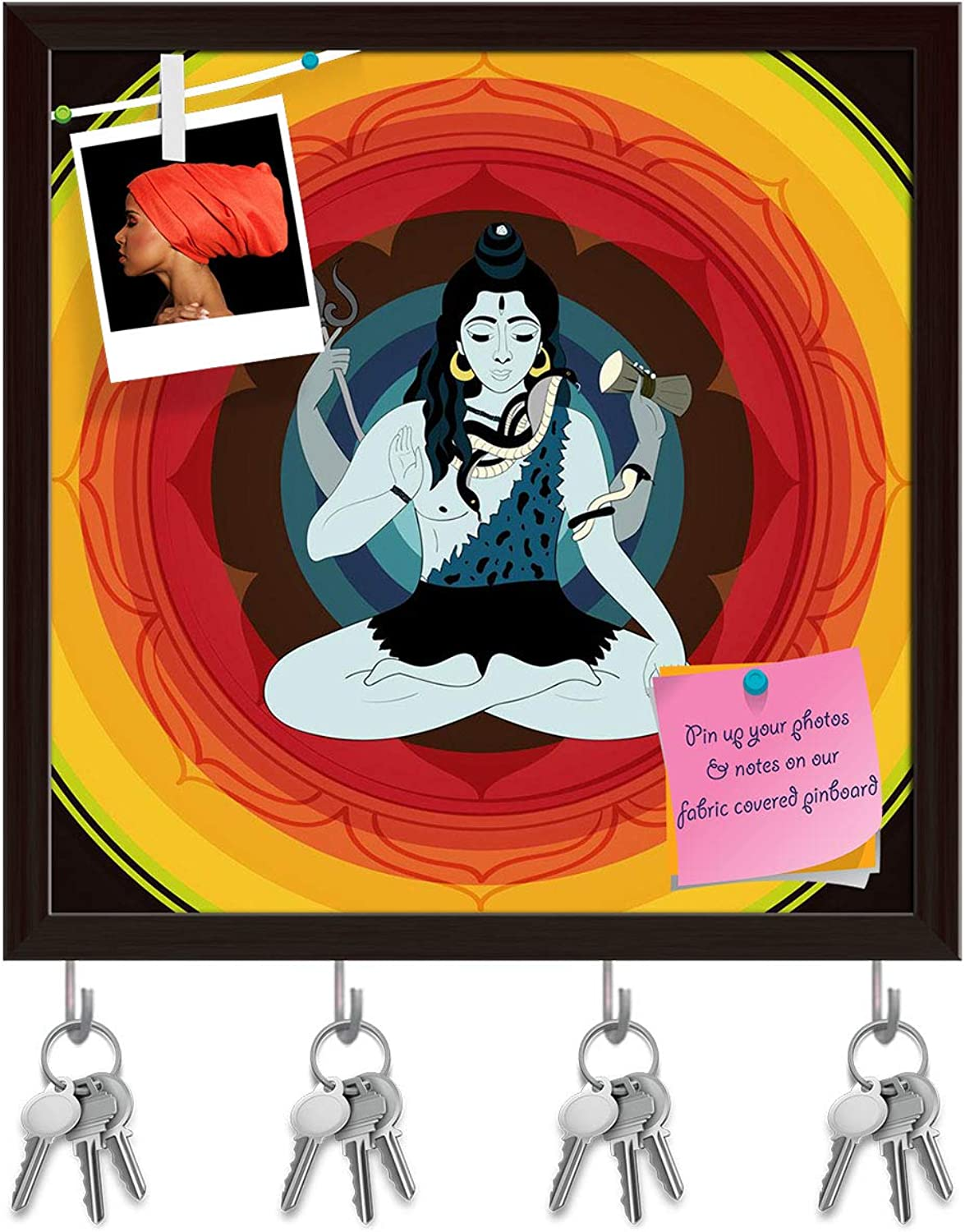 Artzfolio Lord Shiva Hindu God D2 Key Holder Hooks   Notice Pin Board   Dark Brown Frame 20 X 20Inch