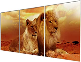 Gardenia Art - Animal World Series Wild Lioness and Lion Canvas Prints Modern Wall Art Paintings Animals Artwork for Room Decoration,12x16 inch Per Piece, Stretched and Framed