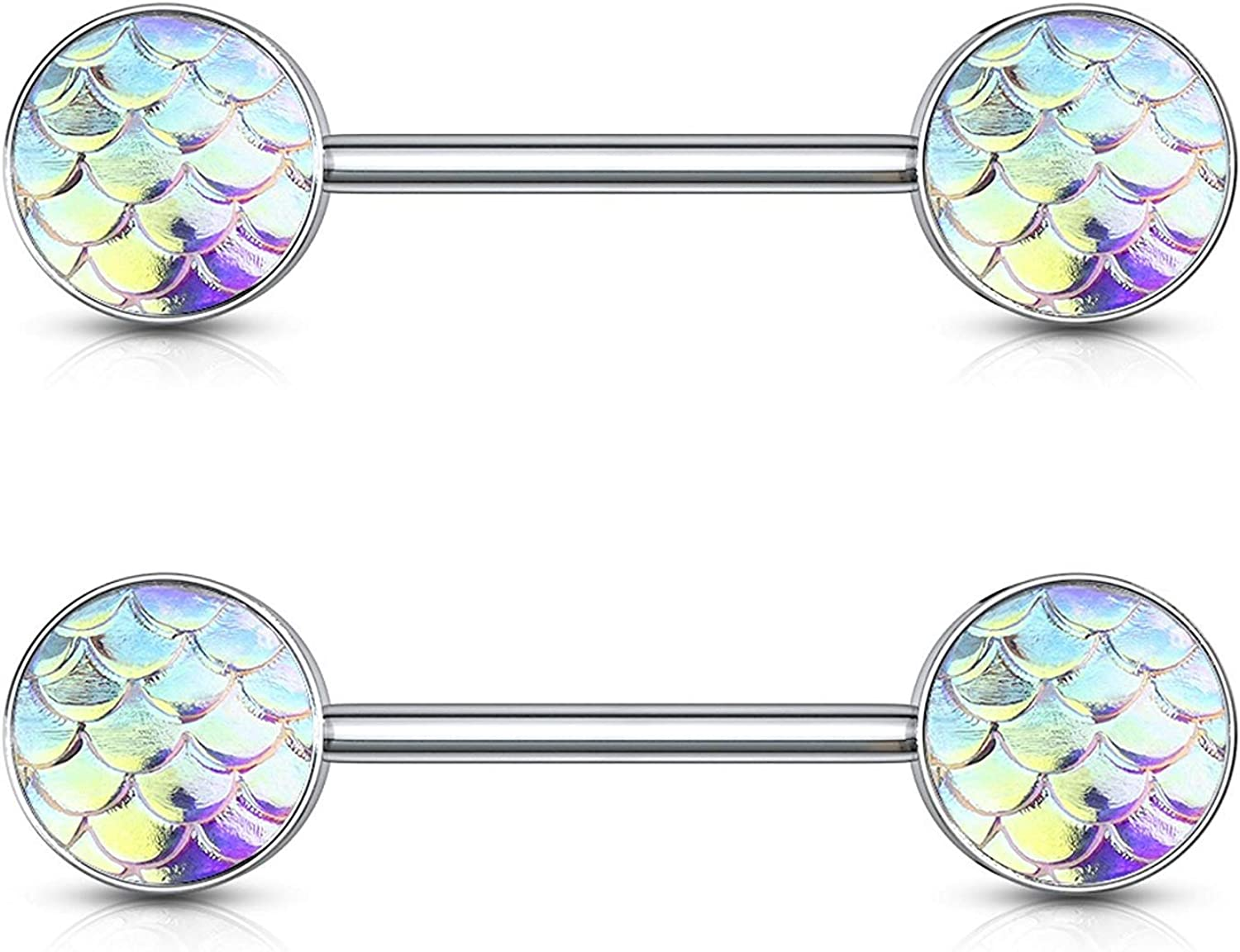 Covet Jewelry Fish Scale Ends 316L Surgical Steel Barbell Nipple Rings