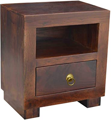P C Wood Furniture Sheesham Wood Bedside Table for Bedroom End Table for Living Room Night Stand with Drawer Sofa Side Storage Tables Furniture for Home (Teak Finish)