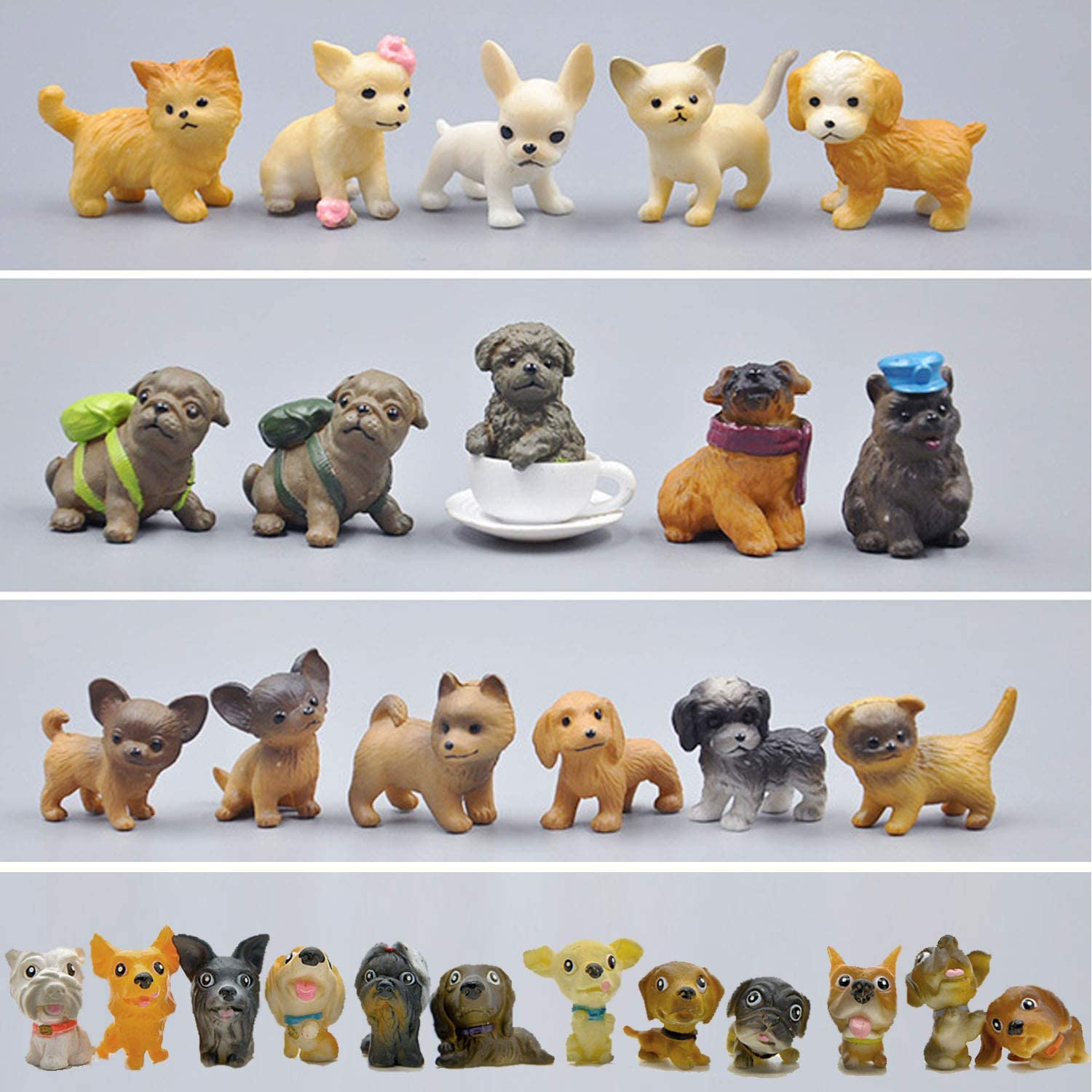 Mini Plastic Puppy Dog Figurines for Kids, 28 Pack High Imitation Detailed Hand Painted Realistic Small Dog Figurines Toy Set