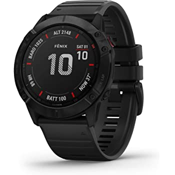 Garmin 010-02157-00 Fenix 6X Pro, Premium Multisport GPS Watch, features Mapping, Music, Grade-Adjusted Pace Guidance and Pulse Ox Sensors, Black