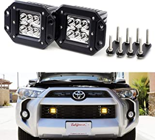 iJDMTOY Amber Yellow Flush Mount LED Podlamp Kit For Trucks/SUVs w/Grille Mesh, Includes (2) 24W High Power CREE LED Pod Lights, Behind Grille Mesh Metal Mount Brackets & Toggle Switch Relay Wiring