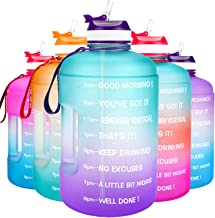 QuiFit Motivational Gallon Water Bottle - with Straw & Time Marker BPA Free Large Reusable Sport Water Jug with Handle for...