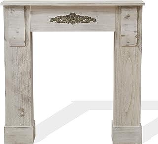 Mobili Rebecca® Marco Chimenea Decorativa Madera Gris Estilo Antiguo Pasillo Dormitorio Decoracion Hogar (Cod. RE4864)
