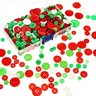 Bememo 400 Pieces Buttons Round Resin Button Sewing Craft Buttons with Storage Box for Valentine's Day, 2 and 4 Holes, Assorted Sizes (Red, Green and White)